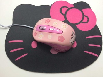 New Hello Kitty Wired Mouse Computer USB Optical Mouse + Cute Mouse Pad For Computer Laptop 2
