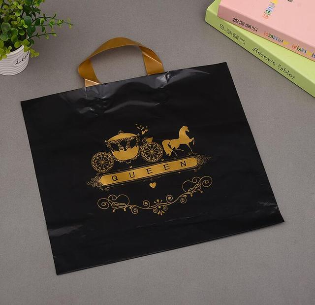 Excellent Blue/Pink/Black hot gold print shopping bag plastic with gold  UD69