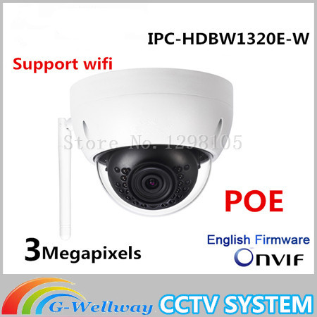 Dahua Original 3MP IPC-HDBW1320E-W dome IP Camera wifi Network IR security cctv Dome IP CCTV Camera Support wifi IPC-HDBW1320E-W multi language ds 2cd2735f is new high quality varifocal lense 3mp ir dome security network ip cameras w audio alarm support poe