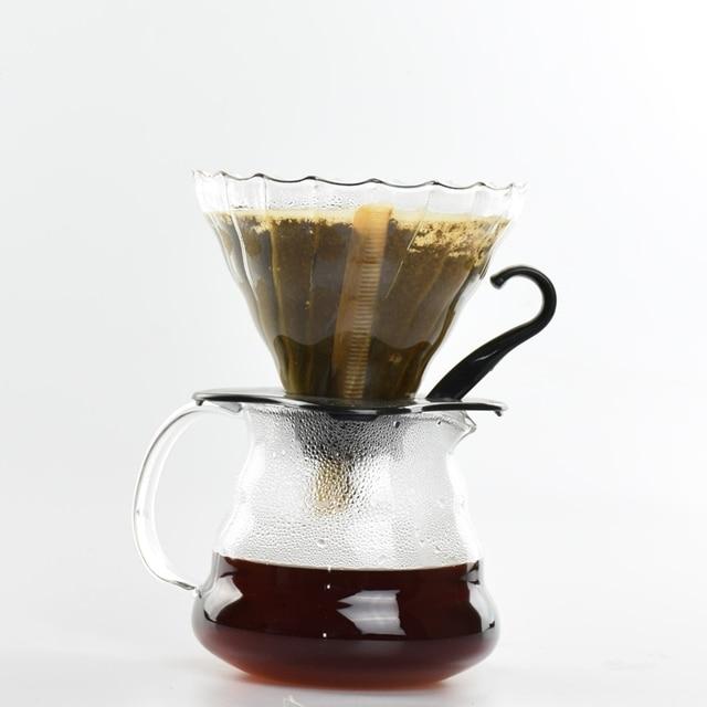 New Arrival V60 Coffee Drip Pot Set 300Ml Heat Resist Glass Coffee Server Espresso Brewer With 40Pcs Filters