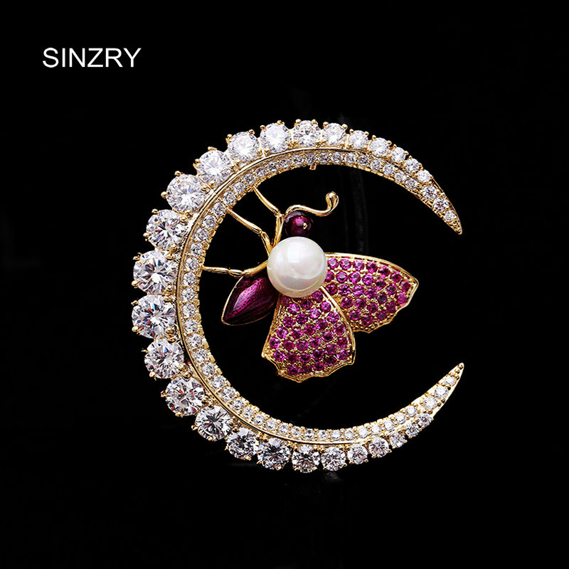 SINZRY Luxury 2018 new suite jewelry accessory trendy cubic zircon bee brooch pin fashionable scarf buckle