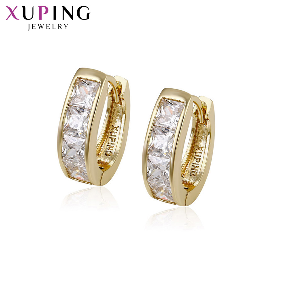 11.11 Deals Xuping Fashion Earrings Light Yellow Gold Color Plated Synthetic CZ Jewelry  ...