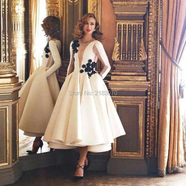 White Tea Length Party Dresses