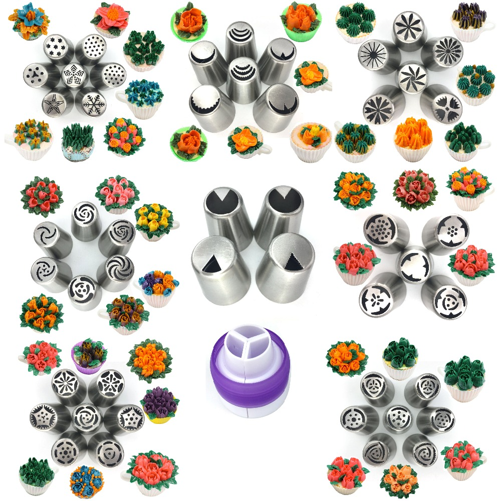 49pc besar Russian Tulip Icing Piping Nozzles Pastry Tips untuk pencuci mulut DIY Baking Stainless Steel ais krim Cake Decoration Tools