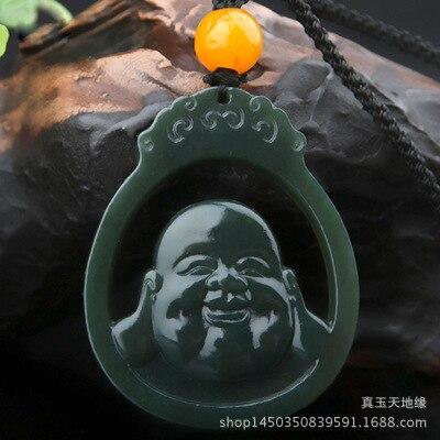 Hetian Jadees Pendant Blue Jades Maitreya Buddha Pendant Men and Womens Style Hollow Buddha Head Jades PendantHetian Jadees Pendant Blue Jades Maitreya Buddha Pendant Men and Womens Style Hollow Buddha Head Jades Pendant