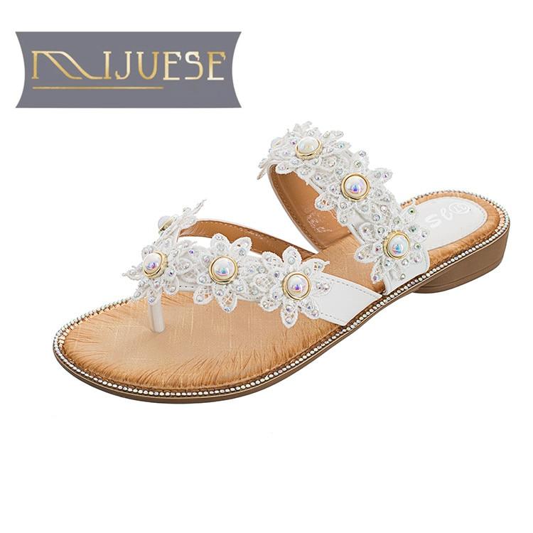 MLJUESE 2018 sievietes čības vasarā ārpus stila baltā krāsā - Sieviešu apavi