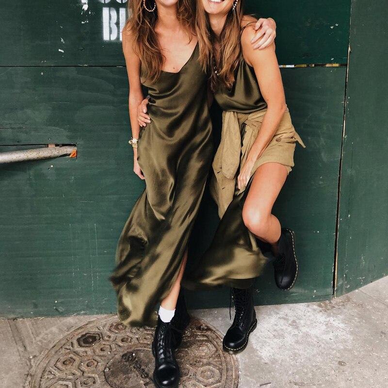 InstaHot Sexy Satin V Neck Maxi Dress Women Spaghetti Strap Sleeveless Backless Side Split Long Dresses 2019 Spring Lady Vestido 2