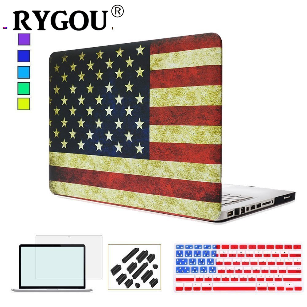 RYGOU Decal US & UK Flag Pattern Rubberized Finish Laptop Case for Macbook Air Pro Retina 11 12 13 15 inch Hardshell for Mac Pro protective uk flag pattern pu leather case for lg g2 red white blue
