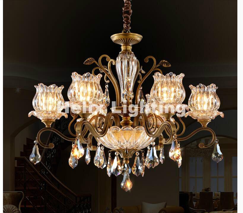 Nemokamas pristatymas Prabangus žalvarinis krištolo šviestuvas, - Vidinis apšvietimas