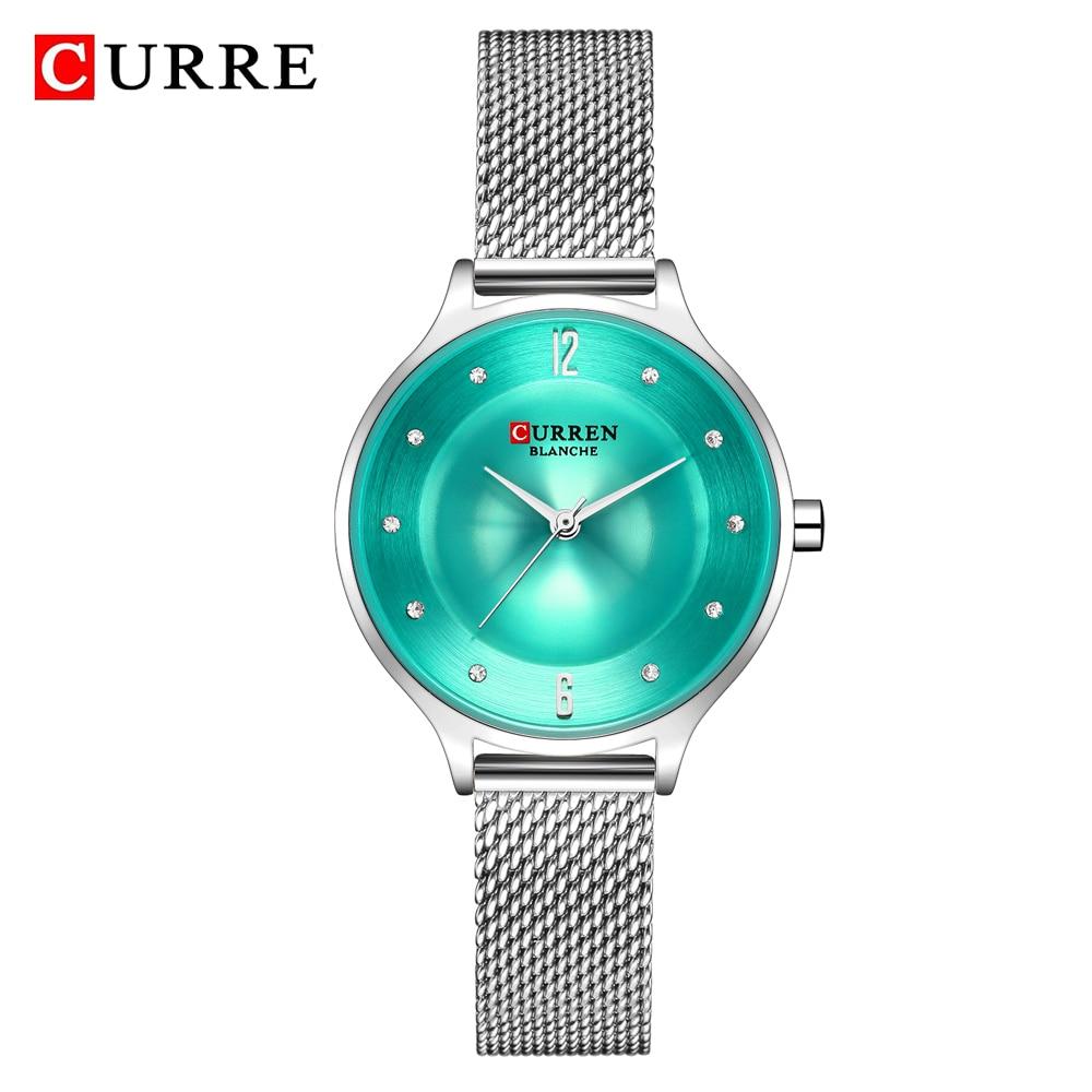 CURREN Exquisite Simple Ladies Watch Silver Stainless Steel Analog Quartz Watches Woman Top Brand Luxury Clock Relogio Feminino