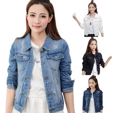 2019 Denim Jacket Women Jean Light Blue Short Bomber Casual  Single Breast Slim 2XL Autumn Coat New