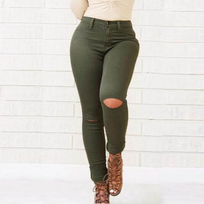 Army Green Hole Jeans Woman Casual Slim Skinny Bodycon Elastic High Waist Jeans Trousers TS36 cougar 530m army green