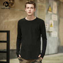 HZIJUE Summer Extend Long Sleeve Bottom Black Tshirt Men Irregular Hem Cotton Top Tshirt Original High Quality Bottom Tee