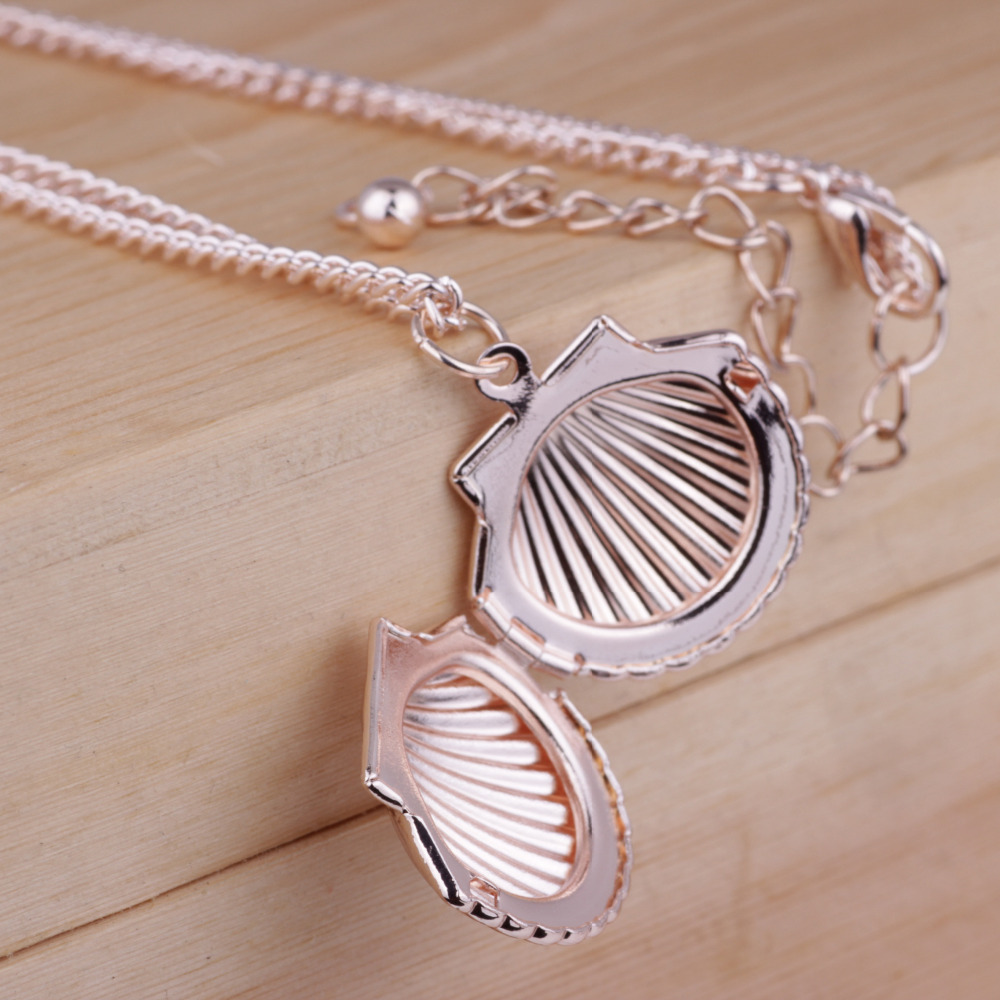 DoreenBeads Fashion Pendant Necklace Silver Rose Gold Color Link Chain Shell Style Wish Picture Box Pendant Romantic Series,1 PC