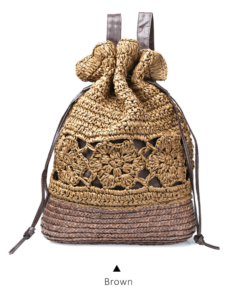 Crochet Beach Backpacks Summer Straw Bags Drawstring Floral Hollow