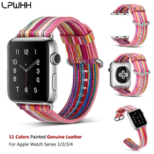 LPWHH Painted Genuine Leather Watchband For Apple Watch Band 40mm 44 mm Pin Buckle Durable Strap iwatch Ban38  42mm