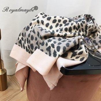 Women's winter cashmere scarf red cotton shawls 2018 warm leopard scarves luxury black cape animal print fashionable wraps