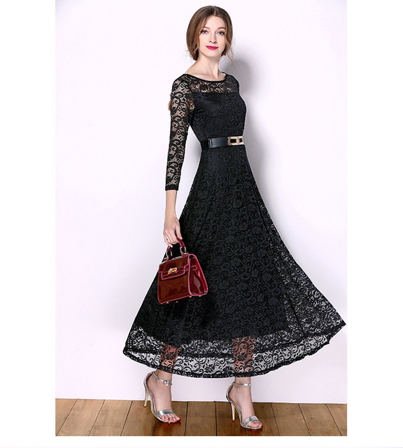 621654f42e5 Classic round neck design long sleeves elegant A-line hem for women summer  lace maxi dress with black leather belt