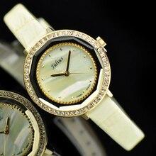 Lady Women s Watch Japan Quartz Hours Best Fashion Dress Bracelet Leather Shell Clock CZ Girl