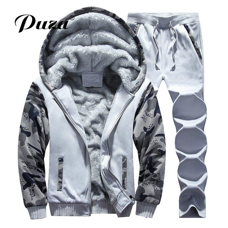 PUZA Tracksuit Men Winter Thick Inner Fleece Hoodie Men Hat Casual Active Coat Men Zipper Outwear 2PC Jacket+Pants Camouflage