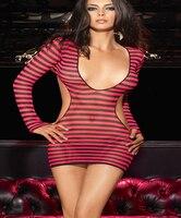 De nieuwe spice meisjes Sexy decollete Fashion streep Nachtclub jurk AF259