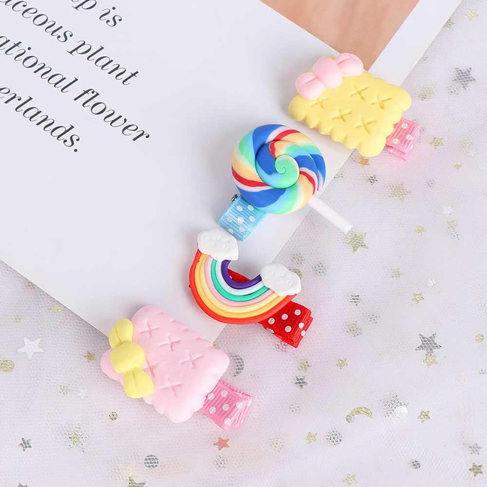 Cute Kids Candy Biscuit BB Clip Hair Clip Rainbow Snack Crown Hairpin Headband Princess Barrette Children Girls Hair Accessories