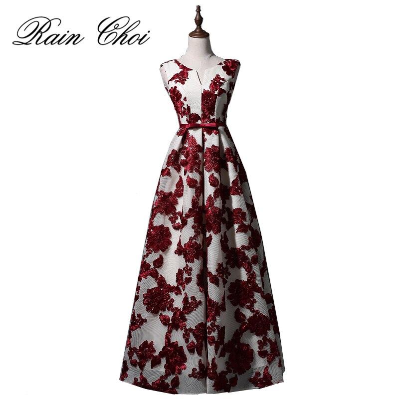 2017 Элегантный бордовый длинные Вечерние платья партия Линия Для женщин Красивые Формальное вечернее платье Vestido De Noiva
