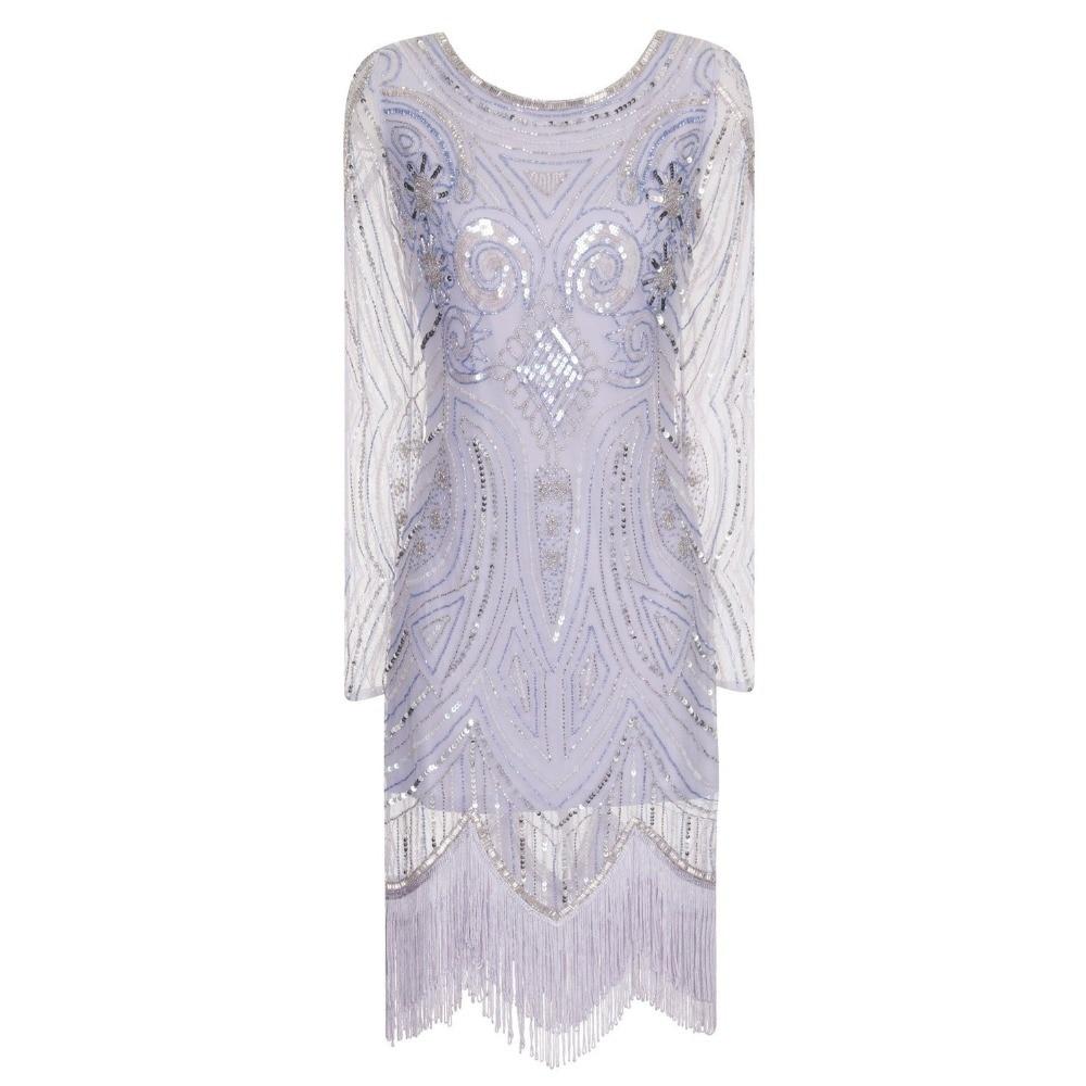 Latest Evening Gown Designs Long Sleeve Rhinestone Bead Dresses Gala Jurken Abiti Lunghi Lavender Berloques Great Gatsby Dress