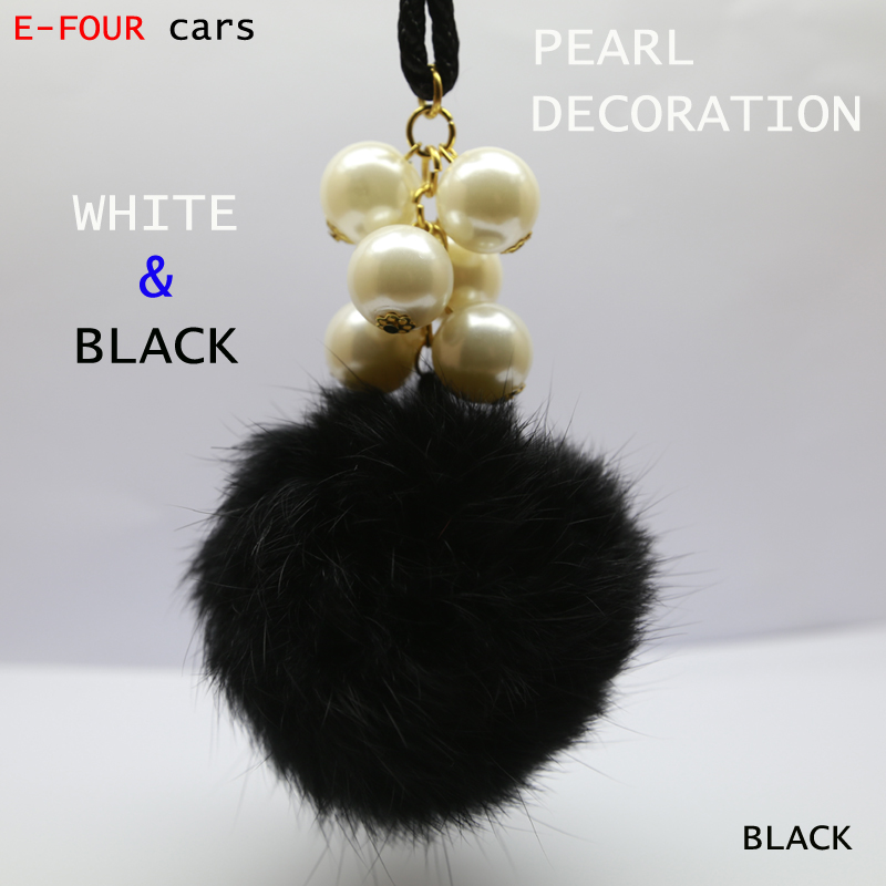 E-FOUR Car Hanging Ornaments Auto Interior Accessories Decoration Rabbit Hair Decor with Six Pearls Five Fashion Colors Car Gift