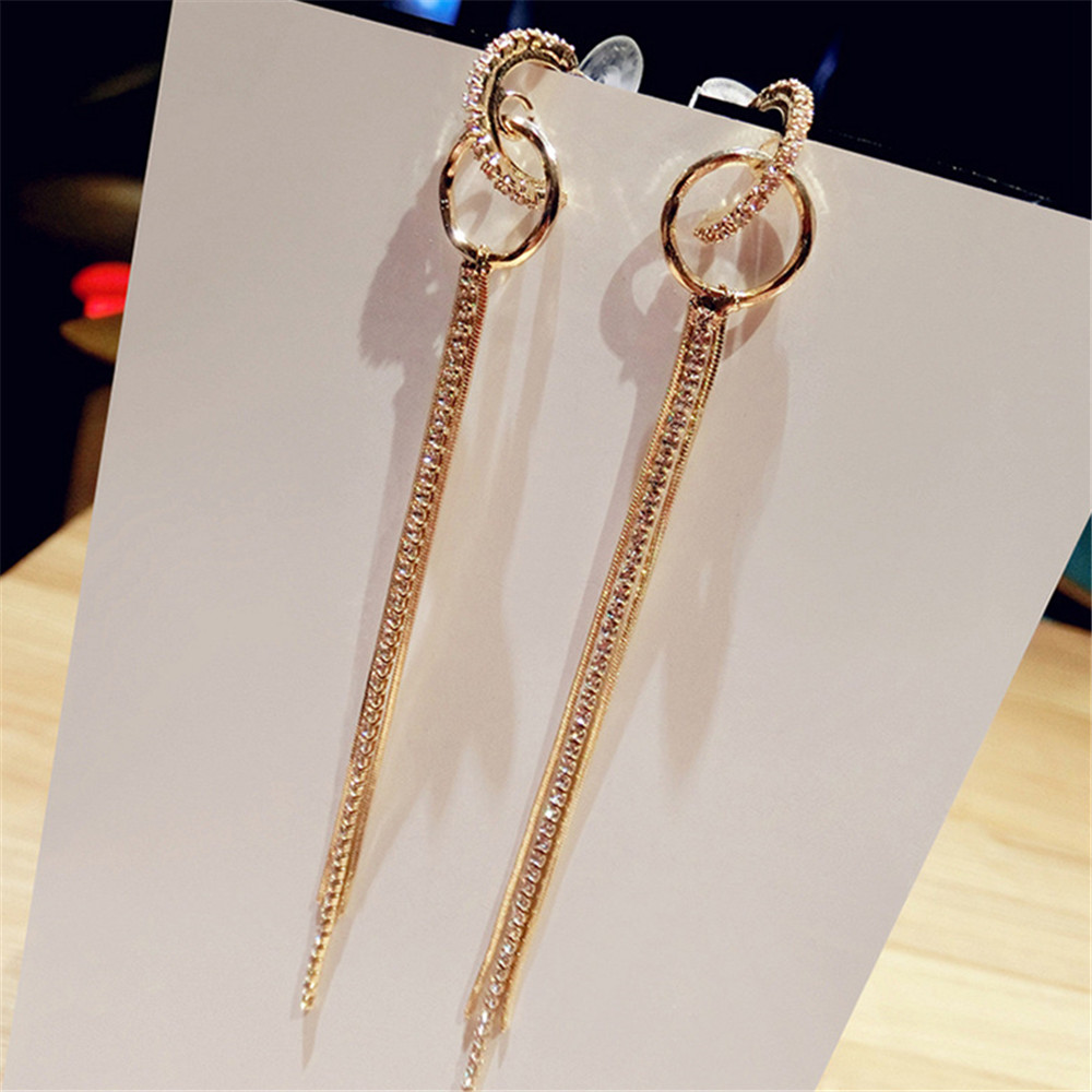 FYUAN Fashion Long Alloy Rhinestone Hoop Earrings Gold Color Tassel Earrings Small Circles Earrings for Women Wedding Jewelry