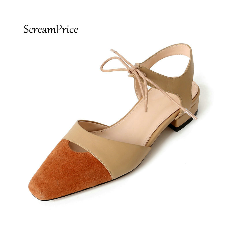 Women Genuine Leather Lace Up Comfortable Low Heel Mixed Colors Sandals Fashion Pointed Toe Party Summer Shoes Black Apricot цена 2017