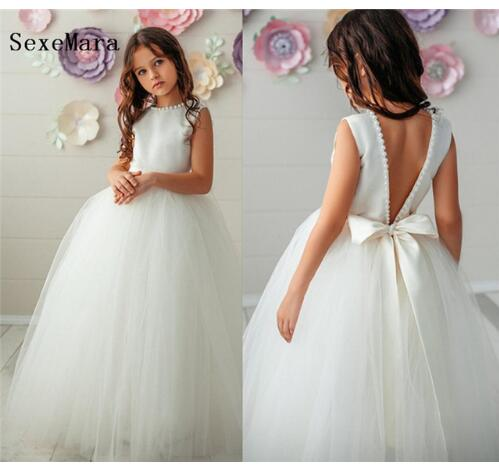 White Tulle Pearls Girls First Communion Dress O Neck Ball Gown 2019 Flower Girl Dress for Wedding Girls Pageant Gown Size 2-14Y