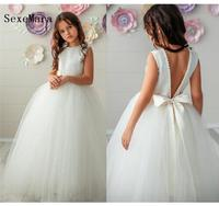 White Tulle Pearls Girls First Communion Dress O Neck Ball Gown 2019 Flower Girl Dress for Wedding Girls Pageant Gown Size 2 14Y