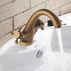 Image 2 - Iibizzaアンティーク蛇口温水と冷水の真鍮ブロンズ起毛シンク蛇口浴室白鳥タップヴィンテージ洗面器ダブルハンドルミキサー