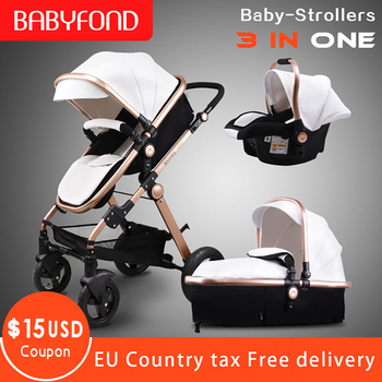 Golden baby Luxury Baby stroller high landscape baby Carriage Leather 3 in 1 stroller with car seat Pram CE safety Babyfond image