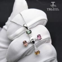 TBJ, 선물 상자와 925 스털링 실버 고급 보석에 천연 전기석 여러 가지 빛깔의 보석 목걸이와 우아한 크로스 디자인