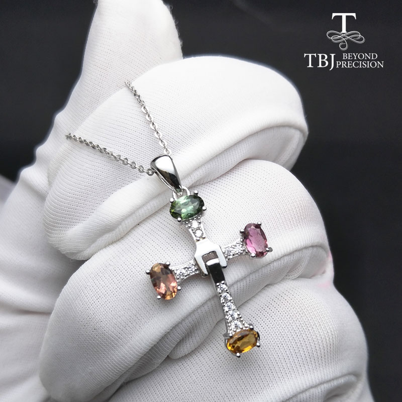TBJ ,Elegant cross design with natural tourmaline multicolor gemstone necklace in 925 sterling silver fine jewelry with gift boxTBJ ,Elegant cross design with natural tourmaline multicolor gemstone necklace in 925 sterling silver fine jewelry with gift box
