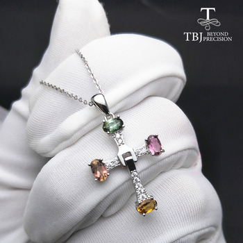 TBJ ,Elegant cross design with natural tourmaline multicolor gemstone necklace in 925 sterling silver fine jewelry with gift box цена 2017