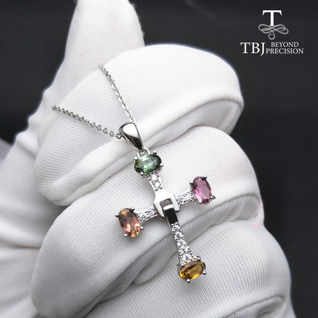 TBJ ,Elegant cross design with natural tourmaline multicolor gemstone necklace in 925 sterling silver fine jewelry with gift box