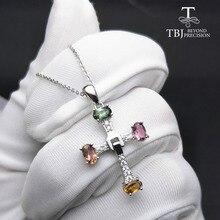 Tbj 、エレガントなクロスデザイントルマリン多色宝石ネックレス 925 スターリングシルバーファインジュエリーギフトボックス