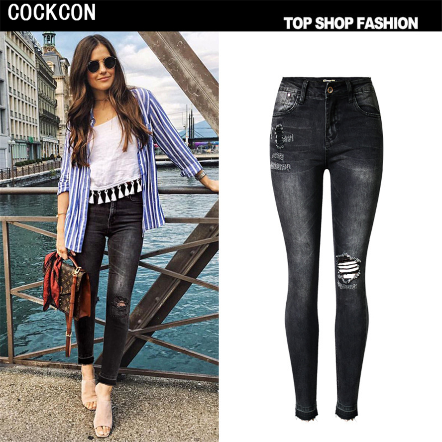 COCKCON 2017 Fashion Skinny Black High Waist Jeans Wowan Plus Size Hole Ripped Jeans For Women