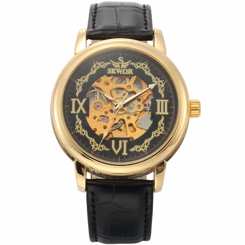 SEWOR Wristwatch Vintage Style Fashion Casual Male Clock Skeleton font b Steampunk b font Mechanical Wrist