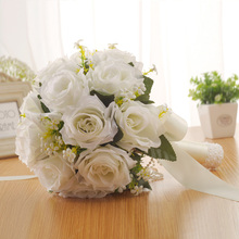 1Pcs Beautiful White Ivory Bridal Bridesmaid Flower Wedding Bouquet Artificial Rose Crystal Bouquets