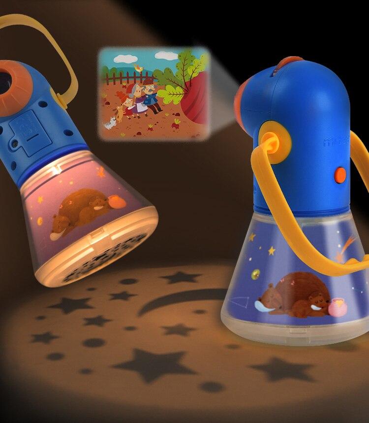 Projecteur Portable lampe torche jouets contes histoire livre ensemble bébé mini théâtre jeux de développement lanterne ciel étoilé lampe de sommeil