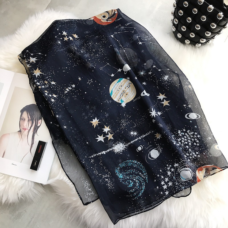 2018 Women Scarves Retro Literary Starry Scarf Female Spring Summer Long Large Scarf Travel Vacation Sunscreen Shawl Pashmina