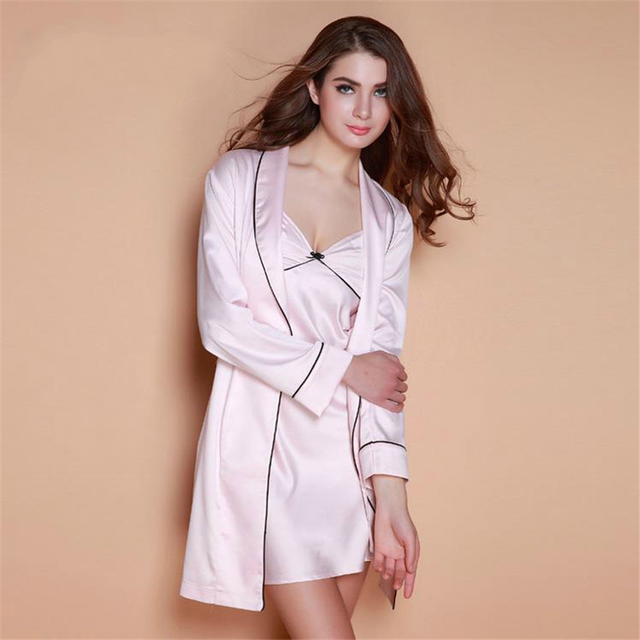 Merry Pretty High Quality Women s Faux Silk Satin Robe 2piece Lingerie Set  Mini Dress Sexy Sleep 257328430