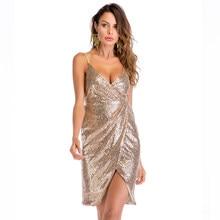 Women Glitter Sparkling Sequins Dress Sleeveless Deep V Neck Split Slim  Mini Party Dress Ladies clubwear 3648f2699d13