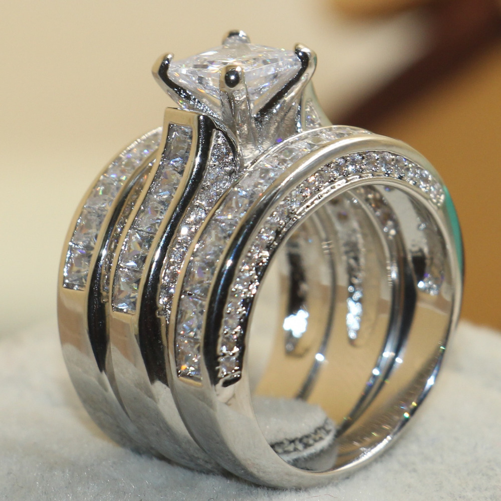 Victoria Wieck Princess Cut Brand Jewelry 925 Sterling Silver White Clear 5A CZ stones Wedding Bridal Women Rings Gift Size 5-11