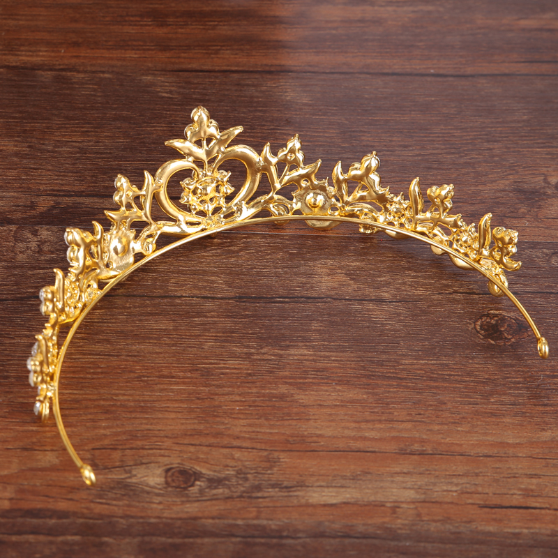 New style Hair Jewelry Vintage Silver Gold Crystal Tiara Princess Wedding Crown For Women Wedding Hair Accessories Headdress 4