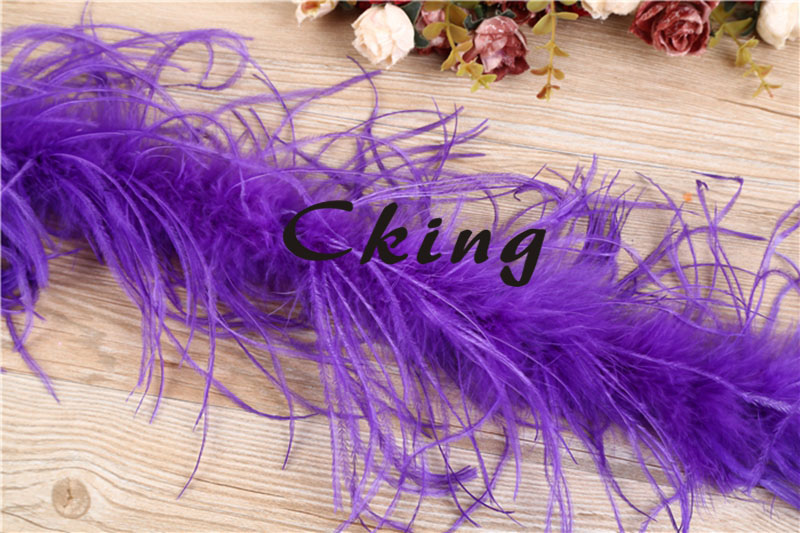 Wholesale 20pcs Purple color dyed ostrich feather fringes 2 meter long per pc 2plys dyed Ostrich Feather boas Free shipping